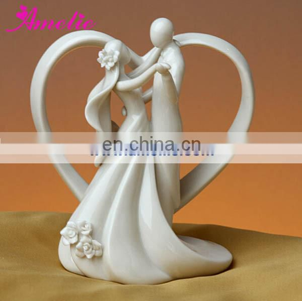 A07382 With Bead Bride Groom Porcelain Wedding Cake Topper
