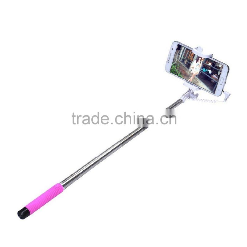 Mini Universal Extendable Handheld Wire Control (No Battery No Bluetooth) Selfie Sticks Monopod For All SmartPhone (Pink)