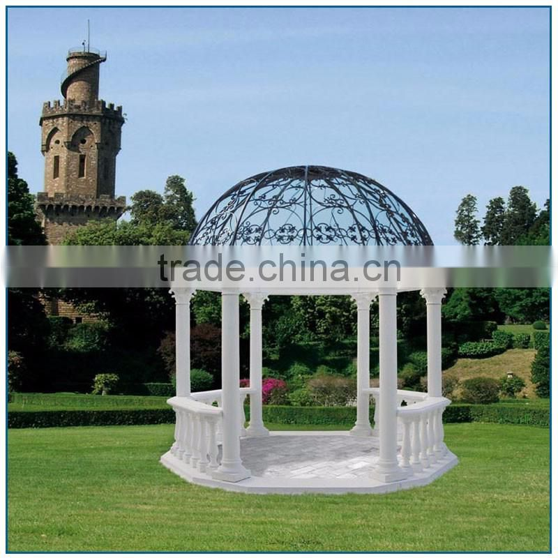Elegant Garden Large Size White Stone Gazebo with Metal Roof for Sale