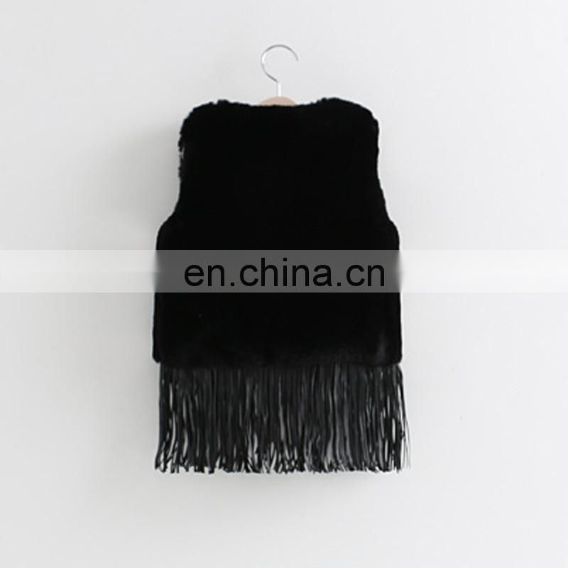 Black fake rabbit fur vest for children cute fur gilet with tassel