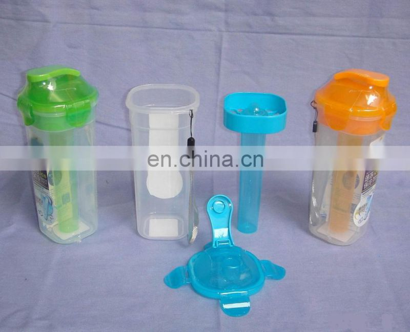 Plastic sport water bottle with cooler stick