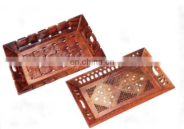 HANDMADE LUXURY WOODEN SEVING TRAY DECORATED