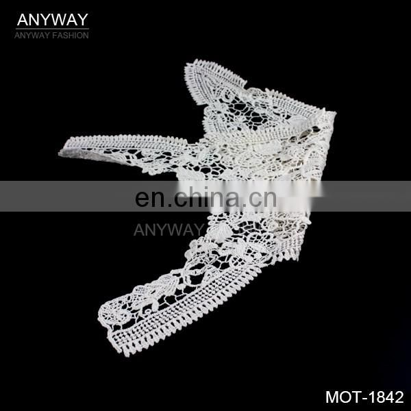 New design collar embroidery motif;factory price white flower lace fabric motif;lace fabric motif for wedding dress