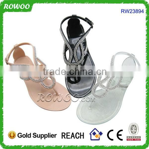 Sexy Flat women clear jelly sandals with cheap price