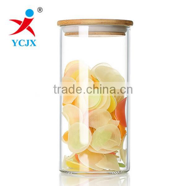 High Quality Borosilicate Glass Storage Jar with Bamboo Lid