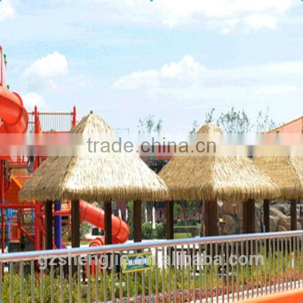 LXY081201Cheap fire proof environmental friendly artificial bali thatch roofing/pvc thatch/tiki hut