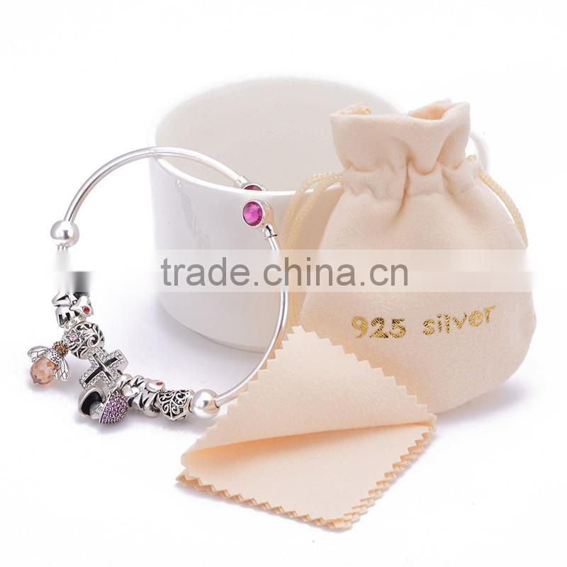 Elegance silver cuff bracelet Heart shape Crystal CZ with Freshwater Pearl New Design Bangle Hot sale Bracelet Jewelry FB051
