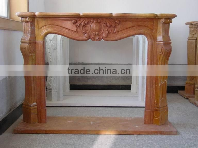 Rojo Alicante Marble Fireplace Mantel Surrounding