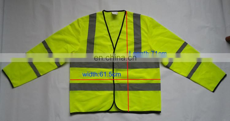 Apparel	t-shirts knitting tricot TC reflector safety yellow free size EU standard hot sale long sleeve t shirt