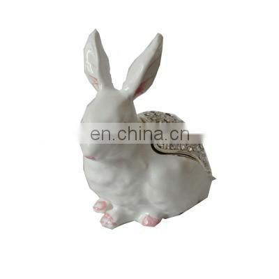 rabbit enamel pewter trinket box for girls
