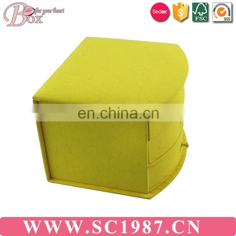 Yellow music operator three layer jewelry box with mirror