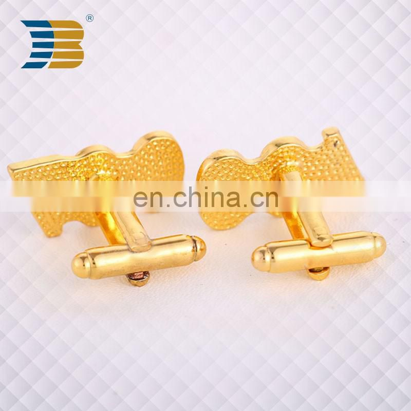 gold plating custom letter cufflink for mens shirts