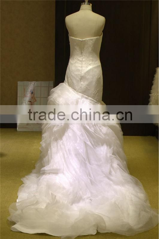new arrival sweetheart neckline lace heavy organza white wedding saree