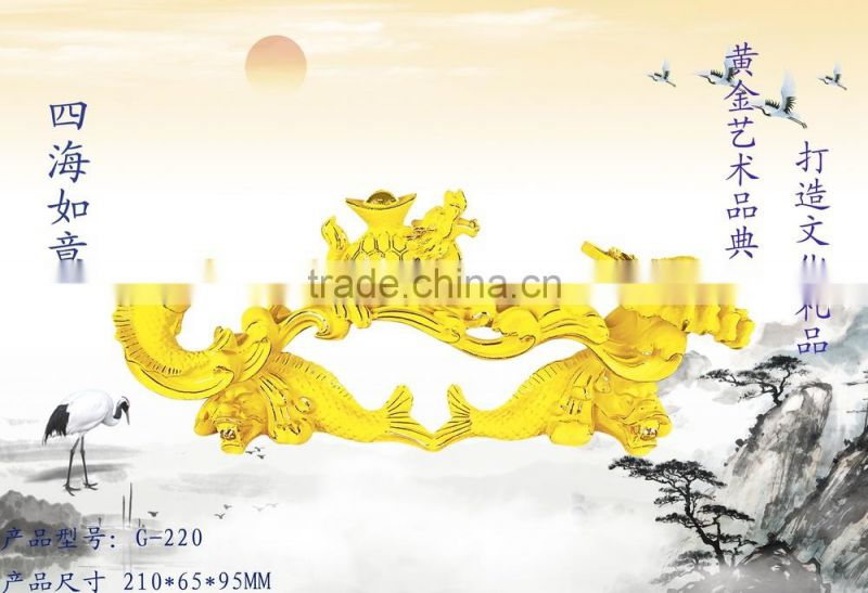 24K Gold Plated Luckly Gifts Wufu Ruyi