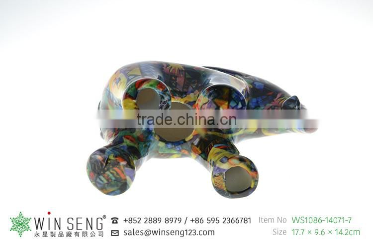 hot decoration hand painted OEM art decor cute novelty ceramic elephant piggy bank