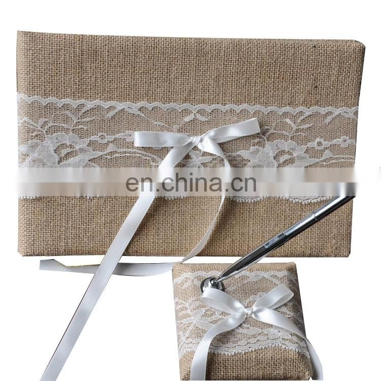 holder guest book wedding decoration jute burlap wedding guest book and pen set with floral lace signature book