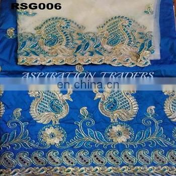 High Quality African George Lace Fabric Sequins Embroidery Nigerian Indian silk George fabric