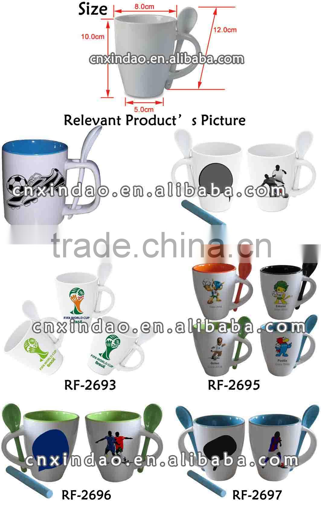 Hot Sale World Cup 2014 Ceramic Mugs with Spoon Holder