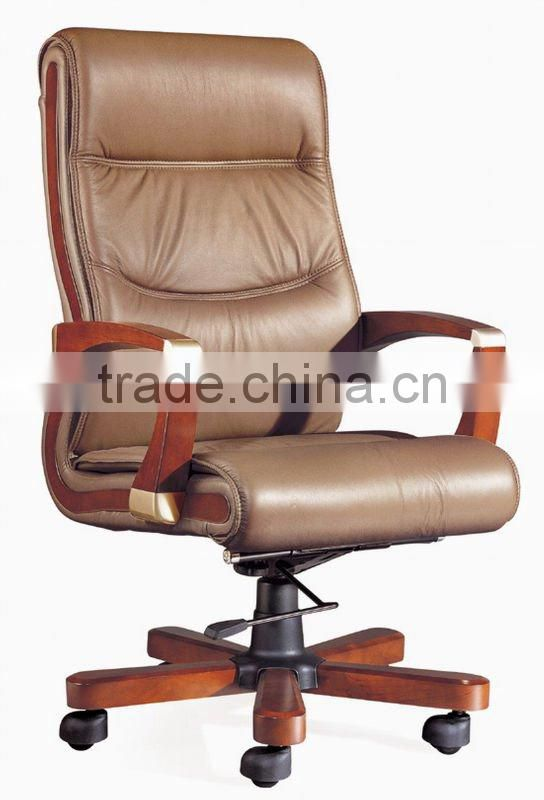Special design wooden high back office chair with casters(EOE)