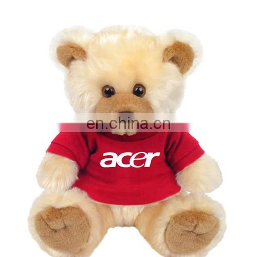 Lovely design cute stuffed plush teddy bears with canvas uniform