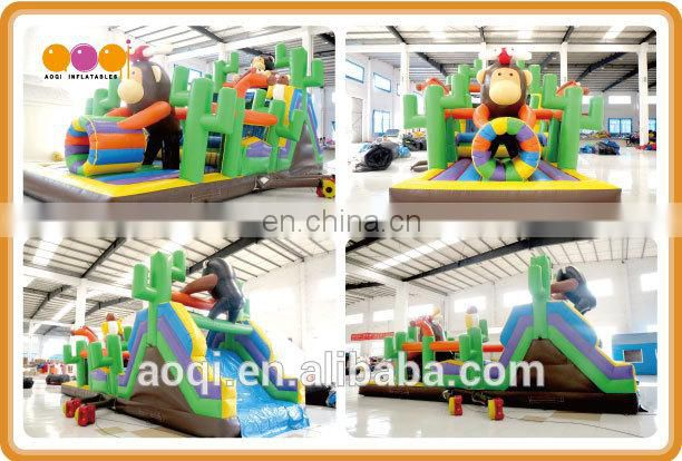 2015 AOQI new design great attraction monkey pvc inflatable obstacle course AQ1338