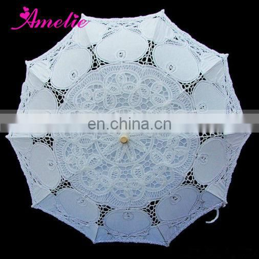 A0186 Ivory Lace Ladies Sun Parasol with Heart Pattern