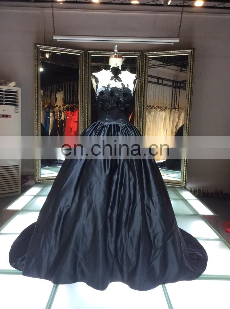 1A137 Glamourpuss Temptation Of Black Night Puffy Gown Bare Back Flower Corset Evening Dresss 2016