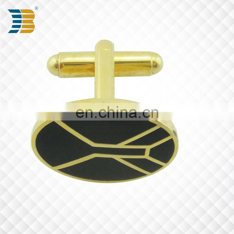 custom gold plating cufflink print with epoxy for men
