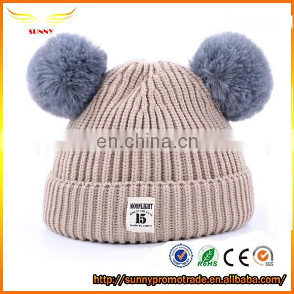 cute free knitting pattern Winter Knit Pom Pom Hat Beanie