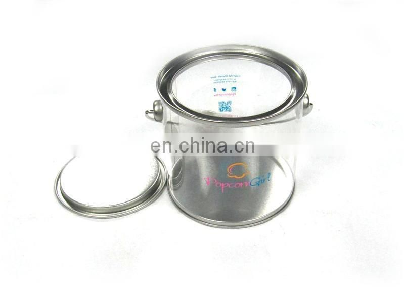 Popular clear candy round tin can with handle