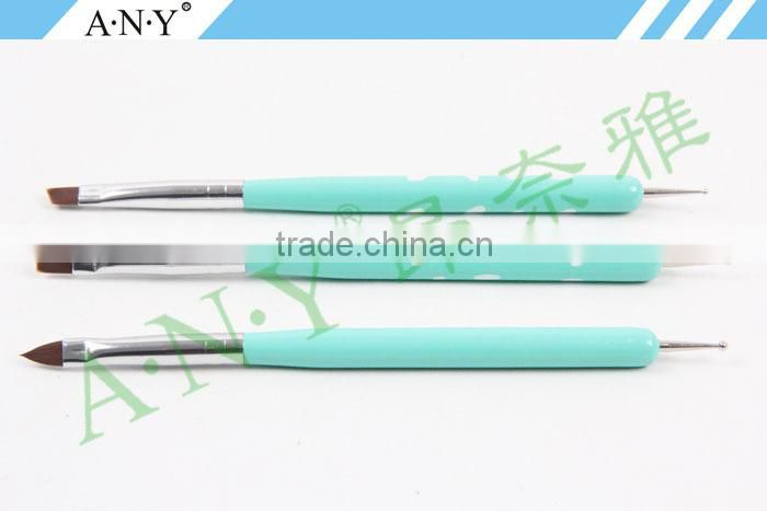 ANY 3D Nails Building 3PCS Wood Handle Two-sides Nail Brush