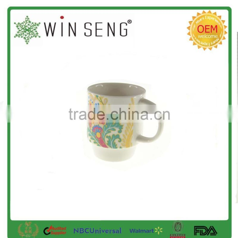 Ceramic tall mug with flower pattern and ring