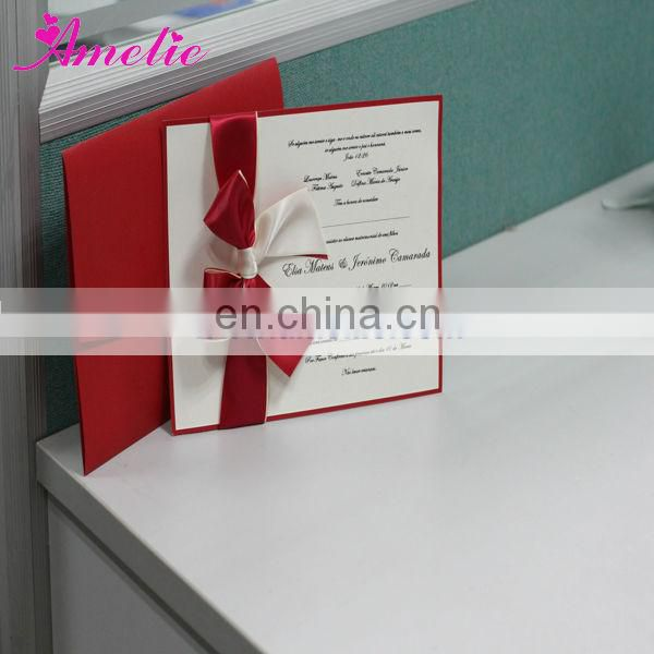 AEA030 Red color handmade wholesale paper kerala wedding cards