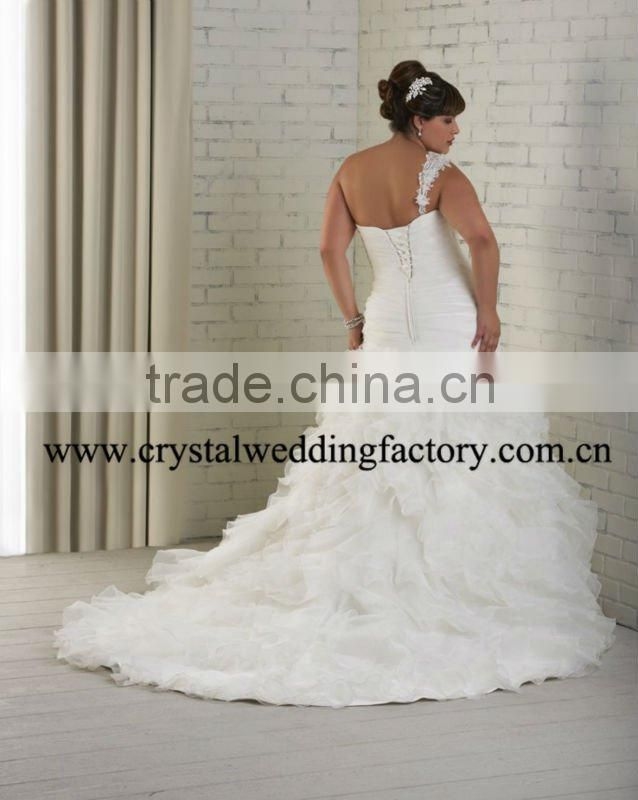 New arrival ruffled one shoulder appliqued xl xxl xxl xxl custom-made plus size wedding dress CWFaw4731