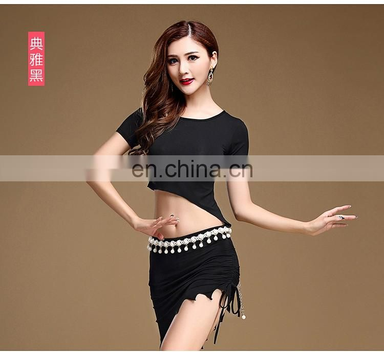 S-3096 Unique design performance modal sexy short sleeve belly dance top