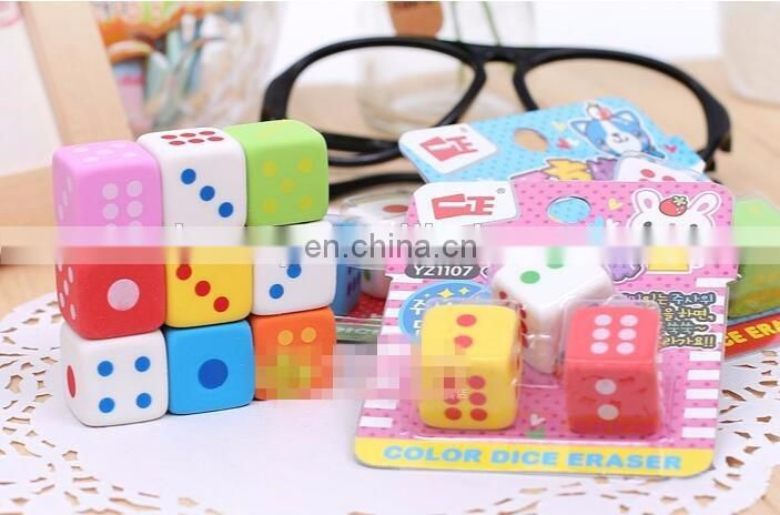 Colored Dice kids pencil eraser For Gift and Games