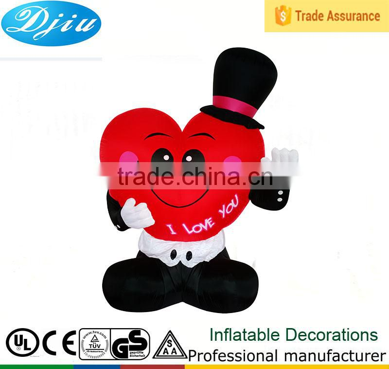 DJ-XT-81 inflatable cartoon red heart smile like gentleman company advertising decoration