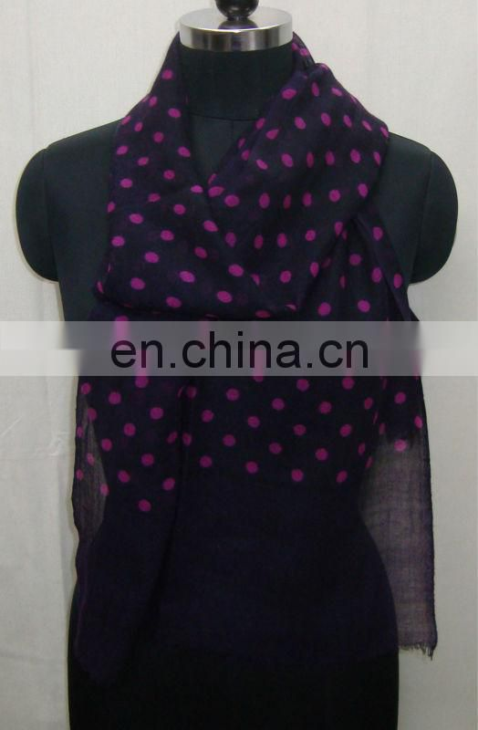 Light weight thin wool printed scarf