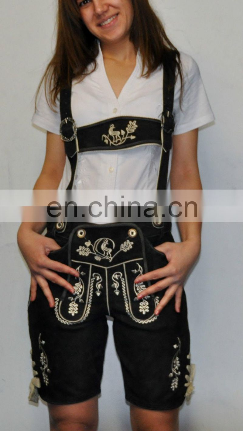 Latest Womens Leather shorts Authentic German Girl Bavarian Oktoberfest Lederhosen Halloween Costume Outfit Adult Women