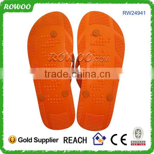 Manufacture Promotional Orange/Blue Cheap Custom Embossed wholesale flip flops