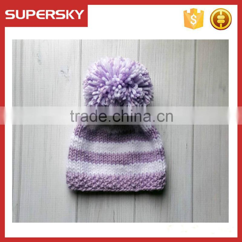 V-31 hand knit pattern knotted stripe winter baby beanie hat cap with pom handmade knit baby hat