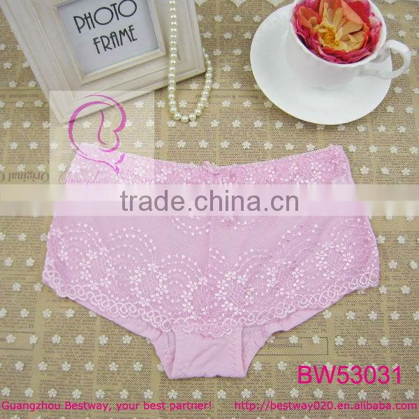 Open hot sex girl photo of sexy stock products sexy boyshort panties front transparent floral lace with bow back bamboo fabric