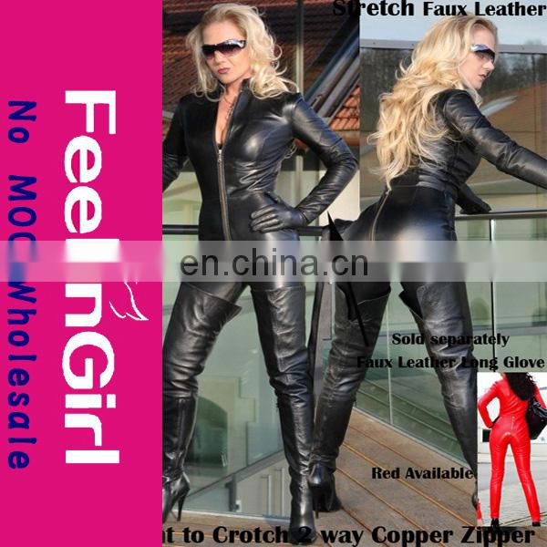 Fashion accept paypal Wholesale hot women full body red leather catsuit