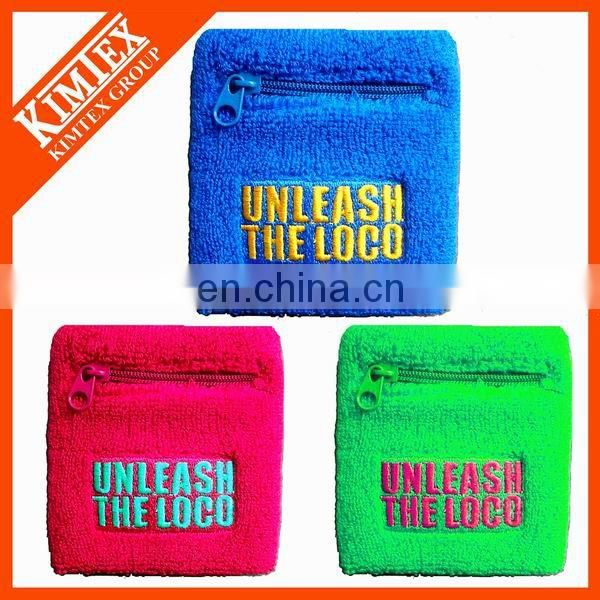 Promotional custom terry cotton wristband with zipper pocket