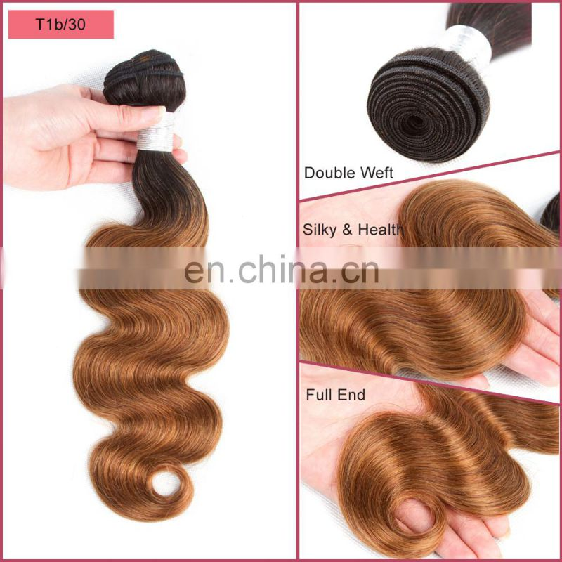 Factory wholesale two tone ombre human hair extensions 100% virgin Brazilian hair weave bundles alibaba express china supplier