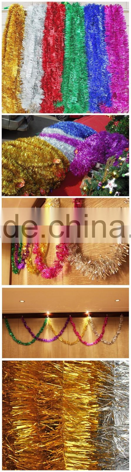 Holiday Christmas decorating wired tinsel garland