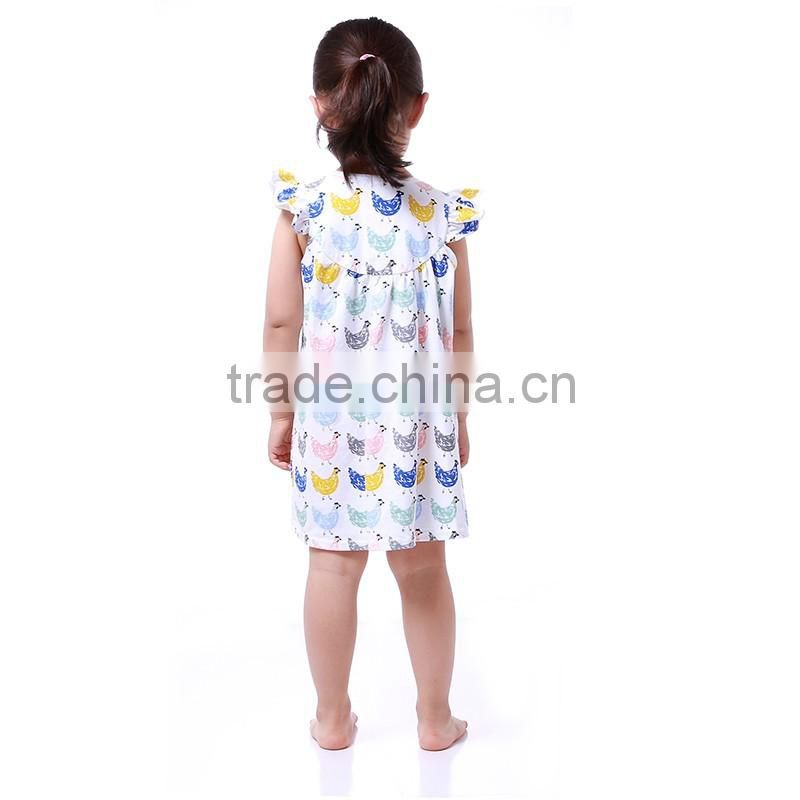 2016 hot sale boutique little mermaid pattern dress cap sleeves girl dress baby pearl dress