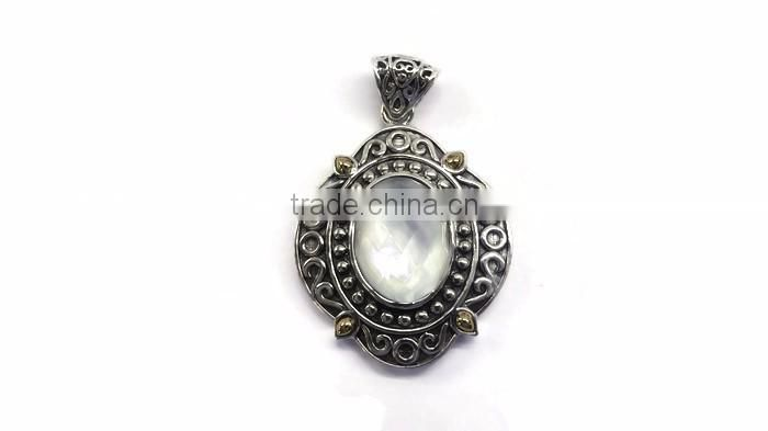 925 Sterling Silver Gemstone Pendant Mother of Pearl Pendant