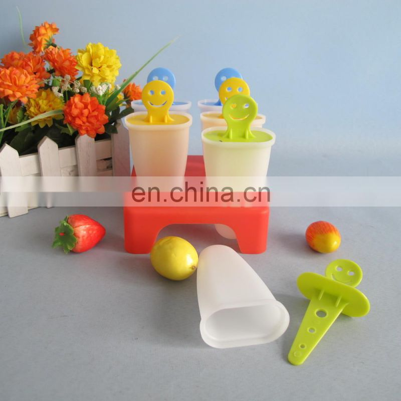 6pcs smile face plastic popsicle sticks