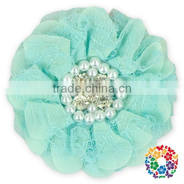 Large Beaded Chiffon Flowers Pink Rhinestone Center Flower For Headbands